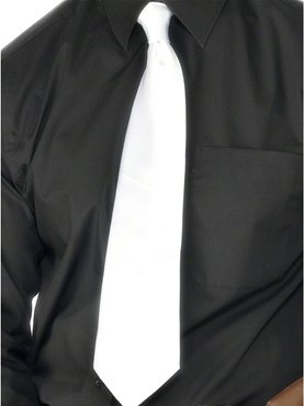 Gangster Tie White Polyester