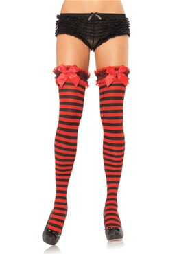 Garter Top Striped Thigh Highs