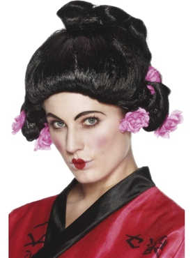 Geisha Girl Wig With Pink Flowers