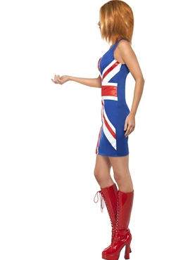 Adult Ginger Spice Girl Union Jack Costume - Back View