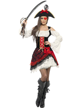 Adult Glamorous Lady Pirate Costume Couples Costume