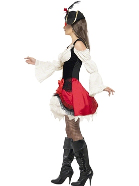 Adult Glamorous Lady Pirate Costume - Back View