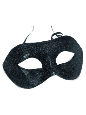 Adult Black Glitter Gino Eye Mask