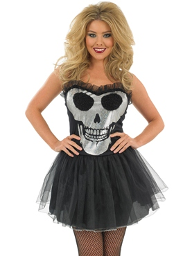 Adult Glitzy Skull Tutu Dress Costume