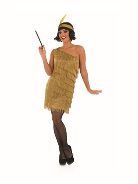 Adult Gold Flapper Dress Costume - Back View