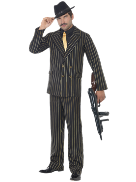 Adult Gold Pinstripe Gangster Costume Couples Costume