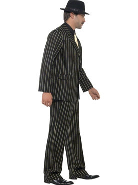Adult Gold Pinstripe Gangster Costume - Back View