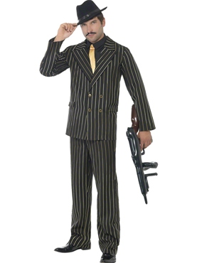 Adult Gold Pinstripe Gangster Costume Thumbnail