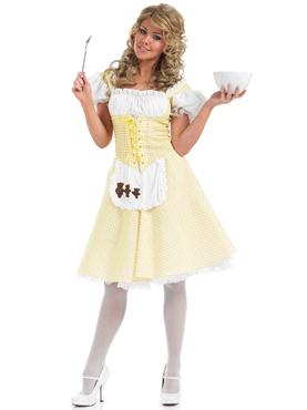 Adult Goldilocks Long Dress Costume - Back View