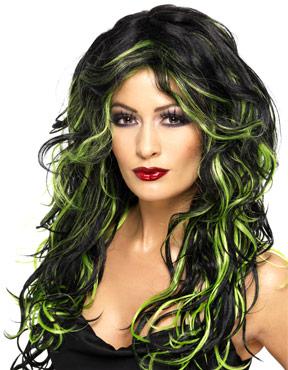 Adult Black & Green Gothic Bride Wig