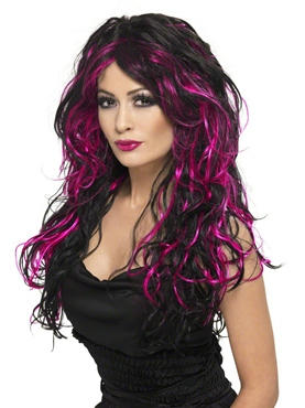 Black and Pink Gothic Bride Wig