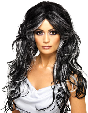 Adult Black & Silver Gothic Bride Wig