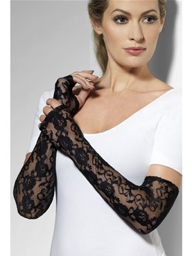 Gothic Lace Fingerless Black Gloves