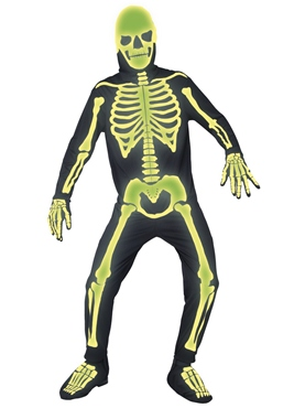 Adult Glow in the Dark Bones Costume - Back View