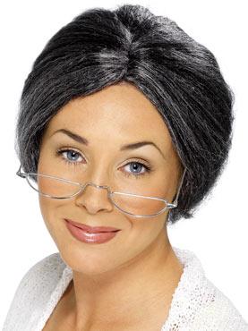 Granny Bun Wig Grey Fibre