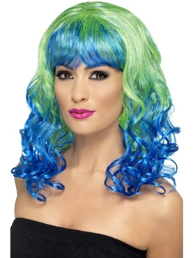 Green and Blue Divatastic Wig