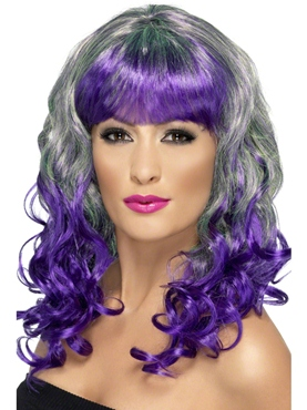 Green and Purple Divatastic Wig