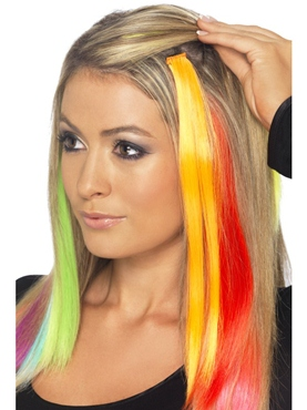 Hair Extensions Neon Orange - Back View