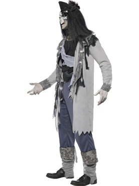 Adult Haunted Swashbuckler Pirate Costume - Back View
