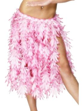 Adult Hawaiian Skirt Pink Leaf
