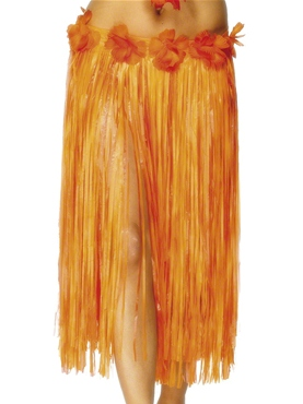 Adult Hawaiian Skirt Red & Orange