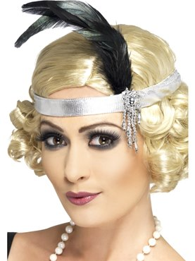 Headband Charleston Silver Satin