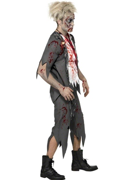 Adult Zombie School Boy Costume - Side View