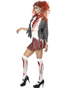 Adult Zombie School Girl Costume - Side View