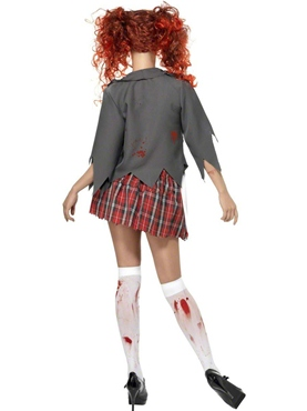 Adult Zombie School Girl Costume - Back View