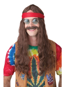 Hippie Man Wig and Moustache