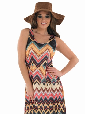 Adult Ladies Hippie Zig Zag Dress Costume - Back View