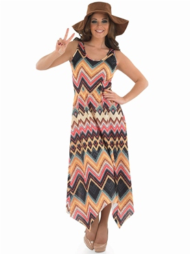 Adult Ladies Hippie Zig Zag Dress Costume