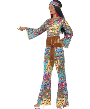 Adult Hippy Flower Power Costume - Side View