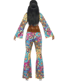 Adult Hippy Flower Power Costume - Back View