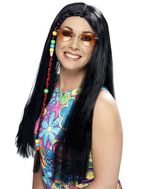 Hippy Party Long Black Wig