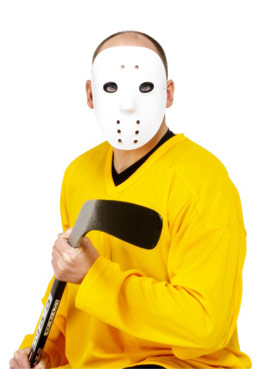 Hockey Face Mask White Pvc - Back View