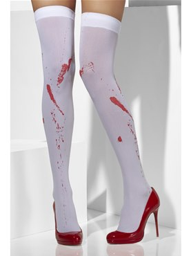 Hold Up Stockings White with Blood