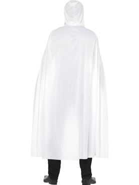Hooded Cape White Fabric - Side View
