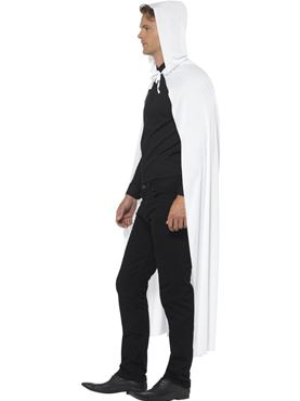 Hooded Cape White Fabric - Back View