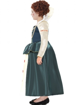 Child Horrible Histories Queen Elizabeth I Costume - Back View
