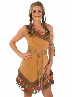 Adult Indian Squaw Costume - Back View