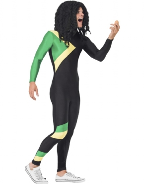 Adult Jamaican Bobsleigh Cool Runnings Costume - Back View