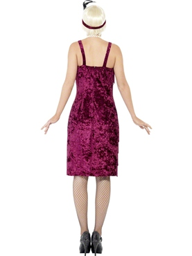 Adult Burgundy Jazz Flapper Costume - Side View