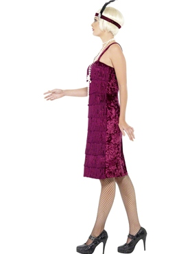 Adult Burgundy Jazz Flapper Costume - Back View