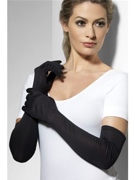 Jersey Gloves Black Fabric