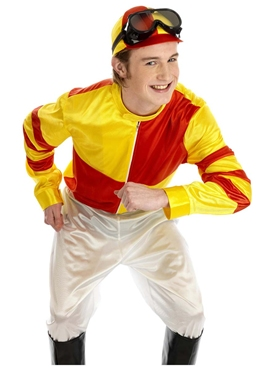 Adult Red & Yellow Jockey Costume - Back View