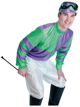 Adult Green & Purple Jockey Costume - Back View