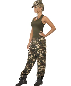 Adult Khaki Camo Army Costume - Side View