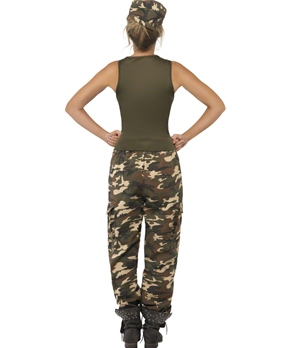 Adult Khaki Camo Army Costume - Back View