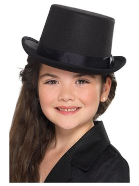 Kids Black Top Hat - Back View
